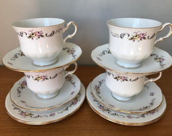 Gainsborough Bone China Tea Set, Vintage Tea Cups Saucers Plates, Rose Teacup Trios, Floral Teacups, Side Plates, Tea Party Set of Four
