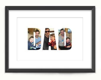 Dad Personalised Print - Custom Photo Art Collage - Father's Day Gift - Digital Printable Download, Print Your Own - Your Photos