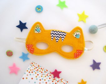 Orange tiger mask, Animal felt mask, Size 4Y to 7Y, Animal felt mask, pretend play, Cucoli toys, children animal mask / Masque de tigre