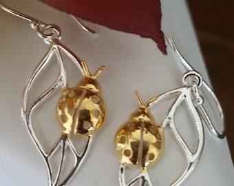 Gold Vermeil Earrings, Sterling Silver Earrings, Silver Stud Earrings, Dangle Hook Earrings , leaf Earrings, lady Bug Earrings