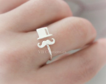 Sir Mustache Ring - Ajustable Ring - Hat Ring - Dainty Ring - Minimalist Ring - Minimalist Jewelry - Gift for Her - Friendship Gift - Sister
