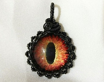 Hand-Painted Eye of Sauron Pendant w/Black Wire Wrap (with Necklace)
