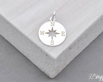 925 Sterling Silver Compass, Round Charm, Round Compass, 925 Silver Charm, Sterling Silver rose winds, Compass Pendant, Compass Charm