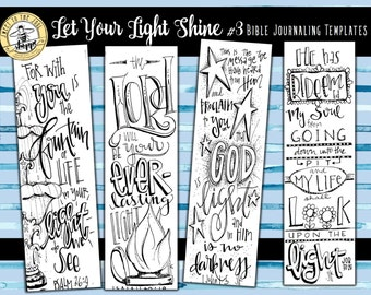 """Soul Inspired - Bible Journaling Template / Color your own bookmarks - """"Let Your Light Shine 3"""" - digital download"""