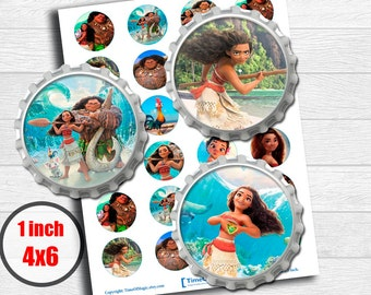 """Moana Disney Digital Collage Sheet 1"""" inch 25mm Bottlecap Printable Image Download for pendants magnets party cupcake toppers"""