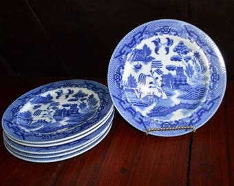 Blue Willow Dessert Plates Set of 6 Made In Japan
