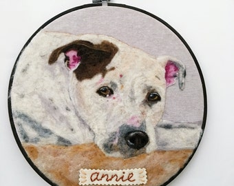 Custom Pet Portrait, Personalized Pet Art, Dog Portrait, Cat Portrait, Hoop Art, Pet Loss Gift, Pet Lover Gift, Wool Felt, Needle Felted