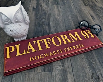 Platform 9 3/4 - Harry Potter - Hogwarts - Wall Decor - Wooden Sign - Harry Potter Decor - Harry Potter Sign - Hogwarts Express - Wood Sign