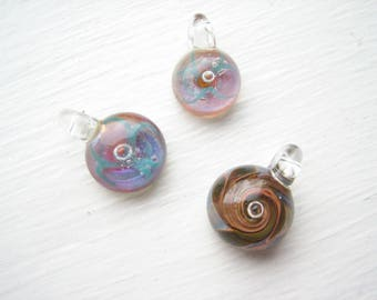 Borosilicate glass pendants (3pcs), round glass pendant, handmade glass, glass drops, opal glass