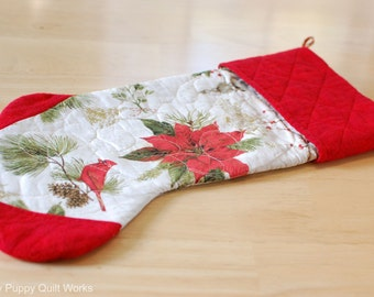 Quilted Stocking, Quilted Christmas Stocking, Red Stocking, Gold Stocking, Christmas Decor, Quilted Christmas Decor