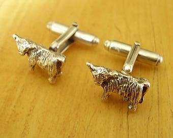Sterling Silver Scottish Angus Highland Cow Cufflinks
