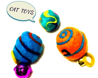 Wool Balls, Catnip ,Bells, Curly tails, Needle Felted Cat Toys.