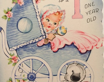 Vintage Birthday Card One-year-old WWII era Puppy Baby in Carriage