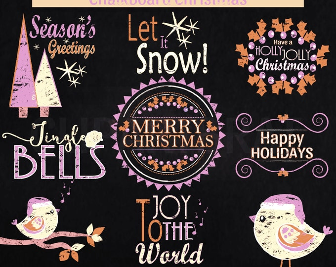 CHRISTMAS CLIP ART Commercial Use Clipart Christmas Chalkboard Word Art Trees Bird Holiday Digital Clip Art Pink Cream Chalk Board Clipart