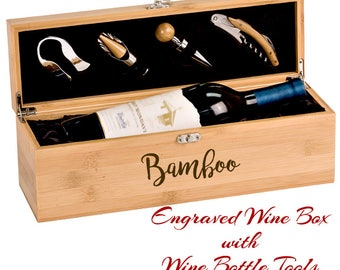 Wine Box, Wedding Wine Box, Personalized Wine Box, Wine Set, Wine Tools, Wine Lover Gift, Engraved Wine Box, Bamboo Wine Box with Wine Tools