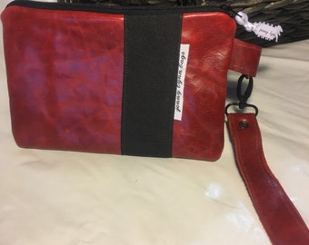 Handmade deep red leather wristlet