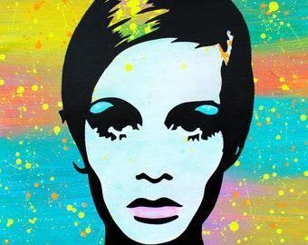 """MR.BABES - """"Twiggy"""" - Original Pop Art Painting - Celebrity Portrait"""