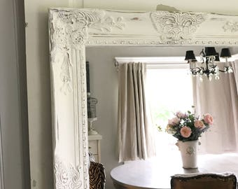 White Distressed Bathroom Mirror, Shabby Chic Vanity Mirror, Wall Hanging Mirror, Large Decorative Mirror, Custom Color, Leaning Mirror