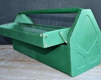 Vintage Metal Tool Box | Garage Tool Tray | Man Cave Tool Tote | Vintage Industrial Tool Tote