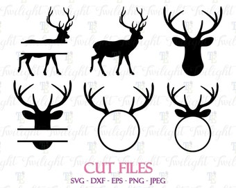 Deer Cut Files, Deer SVG Cut Files, Deer DXF Cut Files, Deer Eps / Png / Jpeg Files 0060