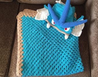 Crochet Hooded Gyarados Pokemon Afghan, Blanket, Throw