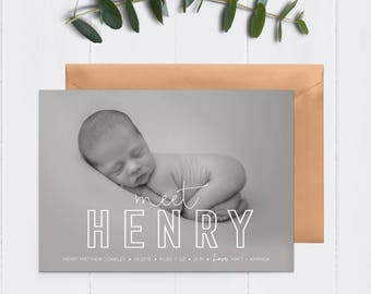 5x7 White, Simple Letters // Typography // Outline Printable Birth Announcement