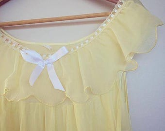 SALLY - lemon yellow peignoir nightgown, restored vintage lingerie (1960s/1970s)