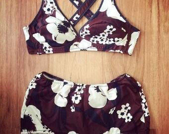 VERUSCHKA - midcentury pinup floral bikini, vintage bathing suit (1960s)