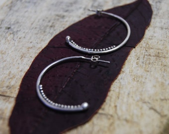 Silver Tribal Hoops with Granulation Detail