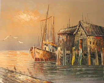 Golden Oil Painting of Fishing Boat By The Shanty