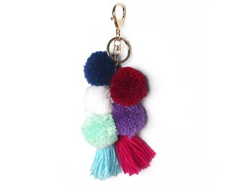 Jumbo Mint Purple Pom Pom Tassel Bag Charm Key Chain