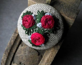 Hand embroidered pendant with roses