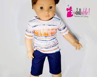 American made Boy Doll Clothes, 18 inch Boy Doll Clothing, boy tee shirt with navy shorts made to fit like American girl doll clothes
