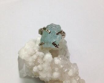 Size 6-7 // Rough aquamarine sterling silver ring / raw uncut aquamarine ring