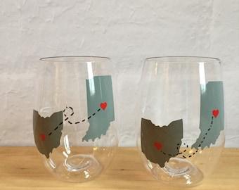 Best friend wine glasses, shatterproof, set of 2