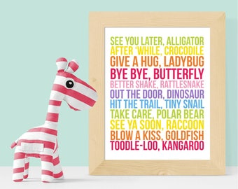 See You Later Alligator After 'While Crocodile 8x10 16x20 Digital Download - Fun Kid Decor, Rainbow Kid Decor, Nursery, Playroom, Kids Room