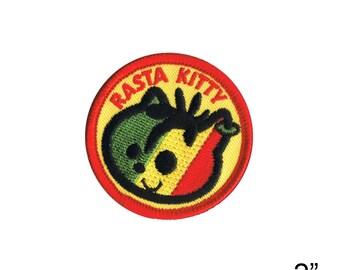 "Foursome Toys Rasta Kitty Iron On Patch 2"" by Fuzzy Dude 2775 Free Shipping"