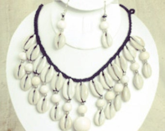 Cowrie+bead African  necklace