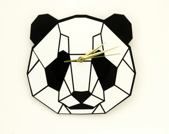 Kids clocks | Panda clock | Wall clock | Vinyl record clock | Kitchen clocks | Home decor wall art | Graphic clock
