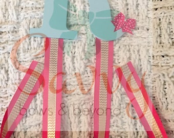Teal, Pink & Gold Hairbow/Headband Hanger