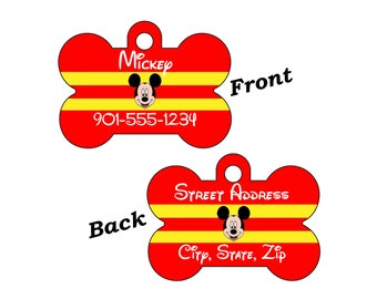 Disney Mickey Mouse 2-SIDED Pet Id Tag for Dogs and Cats Personalized for your Pet