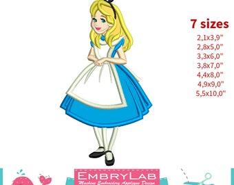 Applique Alice. Alice in Wonderland. Machine Embroidery Applique Design. Instant Digital Download (17321)