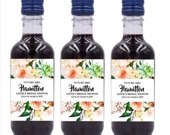Bridal Shower Mini Wine Bottle Labels, Custom mini wine bottle label stickers #MW23
