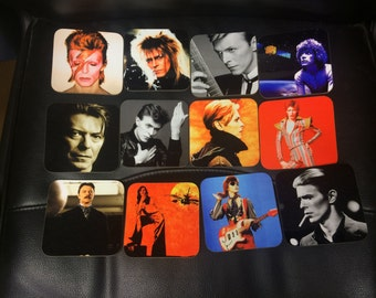 David Bowie Coasters - Singles or Sets (Music Legend) - Aladdin Sane, Ziggy Stardust, Labyrinth, Space Oddity, Heroes etc.