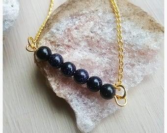 SALE,Blue Sandstone,Gemstone,Bead Bar,Bracelet,Simple,Minimalist,Dainty,Unique,Pretty,Casual,Elegant,Nature,Natural,Stone,Beads,Woodsy,Cute
