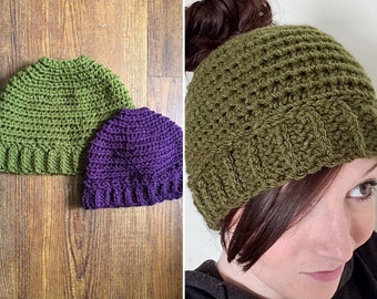 Girls/Ladies Crochet Beanie Hat with hole for Ponytail