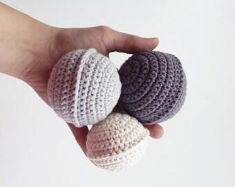 Set of small crochet balls, crochet balls set, baby ball, baby toy, ball,baby blue ball, ball, toy ball, toddler ball