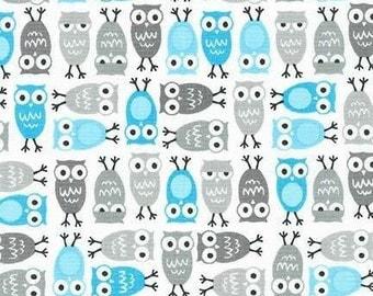 Kaufman Owl Fabric, Robert Kaufman Urban Zoology Minis Sky, 100% Cotton, UK Sales only