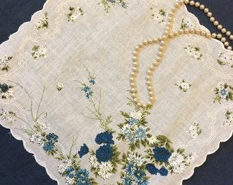 Blue Hankie, FREE SHIPPING, Vintage Wedding Floral Handkerchief Something Old Something Blue Bridal Hankies Hanky Bridal Shower Gift