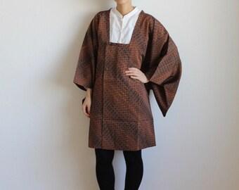 lattice Kimono, kimono japonais, Michiyuki, brown /247